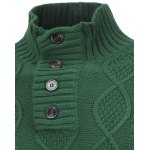 Fisherman Knitted Stand Collar Button Pullover Sweater deal