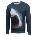 Crew Neck Flocking 3D Shark Print Sweatshirt