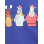 Flocking Crew Neck Funny Christmas Blue Sweatshirt deal