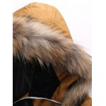 cheap Zipper Pocket Quilted Coat with Fur Trim Hood
