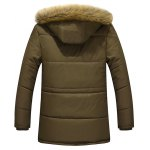 cheap Furry Hood Flocking Zipper Design Pockets Quilted Coat