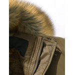 Furry Hood Flocking Zipper Design Pockets Quilted Coat deal
