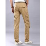 cheap Multi Flap Pockets Straight Leg Cargo Pants
