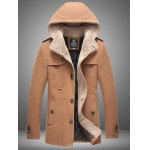 Plus Size Hooded Flocking Single Breasted Woolen Coat