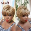 Adiors Short Side Bang Layered Shaggy Natural Straight Synthetic Wig
