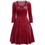 Bowknot Lacework Ruched Swing Dress