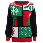 best Plus Size Christmas Tree Snowflake Pattern Sweater