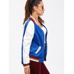 Colour Spliced Striped Zip Up Baseball Jacket deal