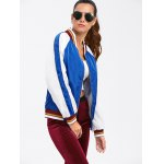cheap Colour Spliced Striped Zip Up Baseball Jacket