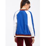 Colour Spliced Striped Zip Up Baseball Jacket for sale