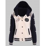 cheap Two Tone Hooded Patched Casual Jacket