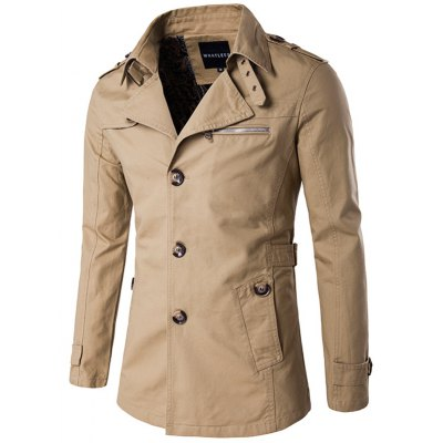 Single Breasted Epaulet Embellished Slimming Wind Coat