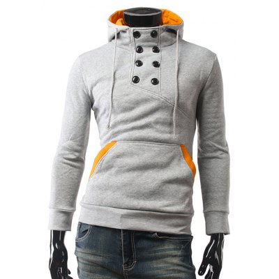 Contrast Color Pocket Button Up Pullover Hoodie