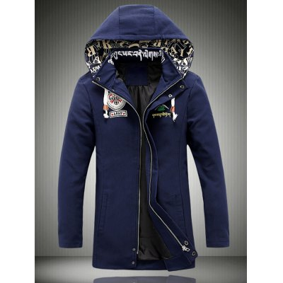 Hooded Embroidered Lengthen Thicken Jacket