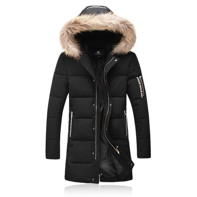 Thicken Zip Up Down Coat with Faux Fur Hood