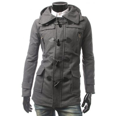 Pocket Button Tab Cuff Hooded Toggle Coat