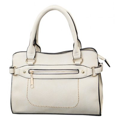 Textured PU Leather Zip Stitching Tote