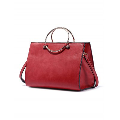 PU Leather Metal Ring HandbagWomens Bags<br>PU Leather Metal Ring Handbag<br><br>Handbag Type: Totes<br>Style: Fashion<br>Gender: For Women<br>Pattern Type: Solid<br>Handbag Size: Small(20-30cm)<br>Closure Type: Zipper<br>Interior: Interior Zipper Pocket<br>Occasion: Versatile<br>Main Material: PU<br>Weight: 0.565kg<br>Size(CM)(L*W*H): 22*12*17<br>Strap Length: 110CM (Adjustable)<br>Package Contents: 1 x Handbag