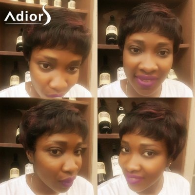 Adiors Short Oblique Bang Layered Natural Straight Synthetic Wig