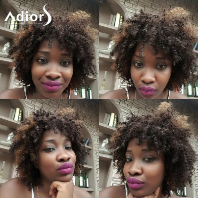 Adiors Hair Short Double Color Afro Curly Side Bang Synthetic Wig