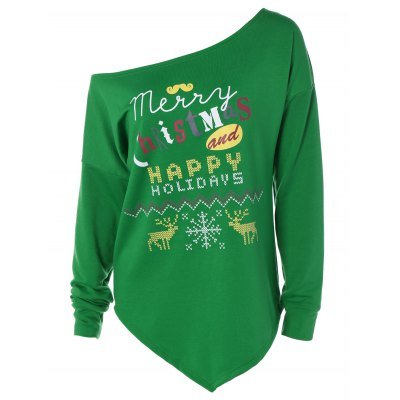 Merry Christmas Print Iraregular Hem Sweatshirt
