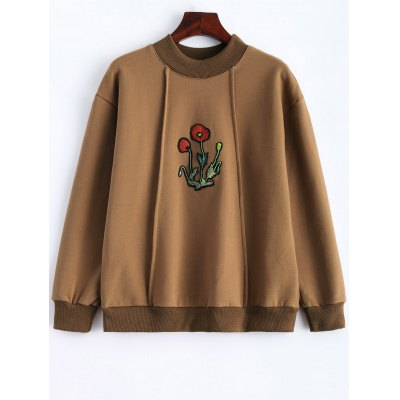 Floral Embroidered Fleece Sweatshirt