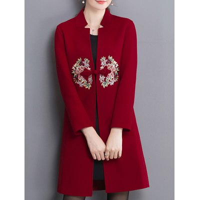Embroidery Stand Collar Wool Coat