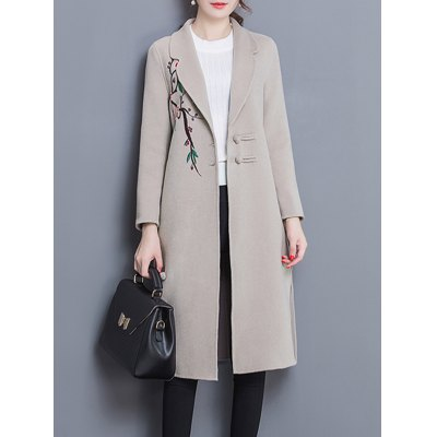 Wool Blend Longline Embroidered Coat