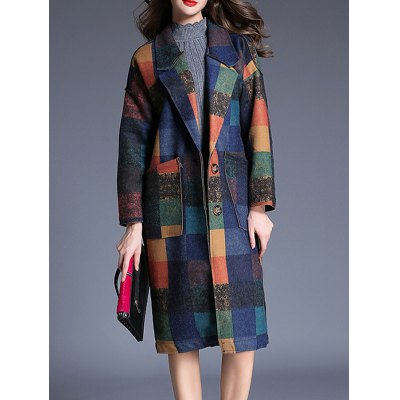 Plaid Double Button Wool Coat