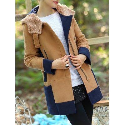 Color Pannel Hooded Quilted Coat