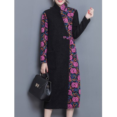 Maxi Color Block  Wool Blend Coat