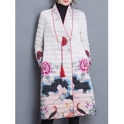 Quilted Vintage Printed Coat