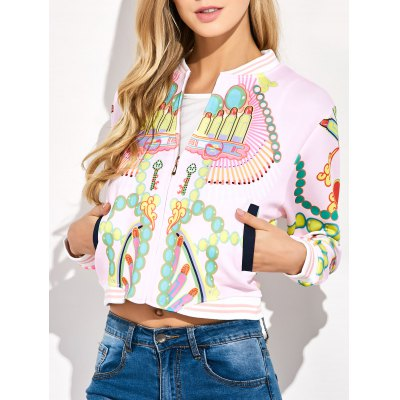 Lipstick 3D Print Cropped Bomber Jacket