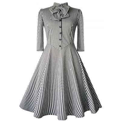 Checked Bow Swing Dress