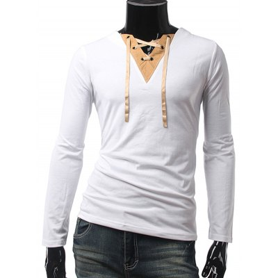 V Neck Long Sleeve Lace Up Panel Tee