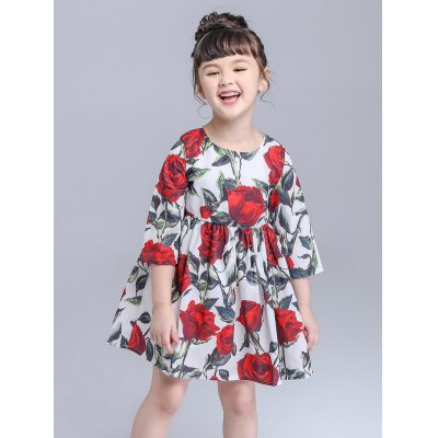 Kids Floral Print Mini Flare DressGirls Clothing<br>Kids Floral Print Mini Flare Dress<br><br>Style: Cute<br>Material: Lace,Polyester<br>Silhouette: A-Line<br>Dresses Length: Mini<br>Neckline: Round Collar<br>Sleeve Length: 3/4 Length Sleeves<br>Pattern Type: Floral<br>With Belt: No<br>Season: Fall,Spring<br>Weight: 0.160kg<br>Package Contents: 1 x Dress