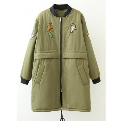 Plus Size Bird Letter Patched Bomber Coat
