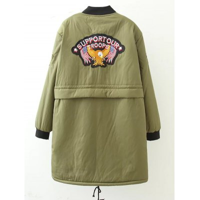 Plus Size Bird Letter Patched Bomber CoatJackets &amp; Coats<br>Plus Size Bird Letter Patched Bomber Coat<br><br>Clothes Type: Jackets<br>Material: Cotton Blends,Polyester<br>Type: Wide-waisted<br>Clothing Length: Long<br>Sleeve Length: Full<br>Collar: Stand-Up Collar<br>Closure Type: Zipper<br>Pattern Type: Animal<br>Embellishment: Appliques<br>Style: Streetwear<br>Season: Winter<br>Weight: 0.670kg<br>Package Contents: 1  x Coat