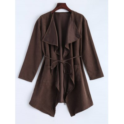 Faux Suede Wrap Duster Coat
