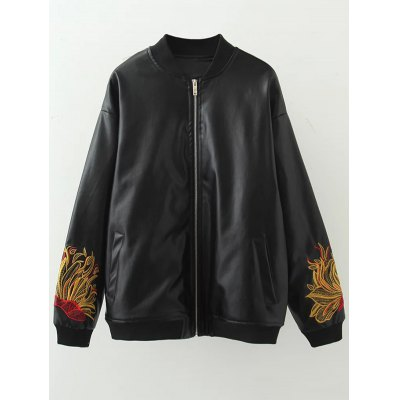 Plus Size Embroidered Faux Leather Bomber Jacket