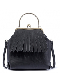 Metal Trimmed Kiss Lock Fringe Bag