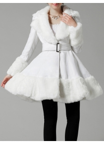 Faux Fur Trim Cashmere Skirted Coat