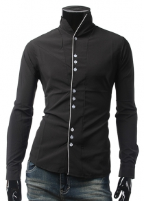 Stand Collar One Button Cuff Shirt