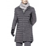 Snap Button Up Paneled Quilted Coat