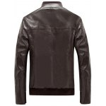 cheap Rib Splicing Stand Collar PU Leather Zip Up Jacket