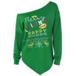 Merry Christmas Print Irregular Hem Sweatshirt
