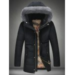 Buy Furry Hood Thicken Zip Coat 4XL BLACK