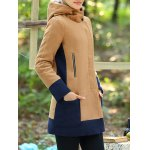 cheap Color Block Hooded Long Coat