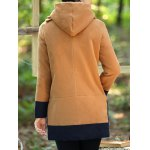 Color Block Hooded Long Coat deal