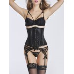 Underbust Hook Up Faux Leather Corset